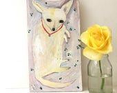 Painting on shaped reclaimed wood of a chihuahua dog
