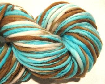 Handspun Yarn Robin's Nest 125 yards hand dyed merino wool blue yarn brown yarn waldorf doll hair knitting supplies crochet supplies