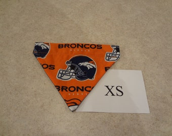 Denver Broncos dog bandana-over the collar-XS