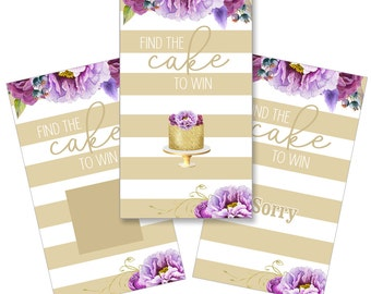 Set of 12 Scratch Off Game Cards for Bridal Showers with Purple Flowers on Gold SCB002