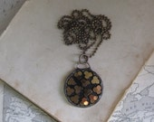 Brass and Black Glass Long Necklace Recycled Jewelry