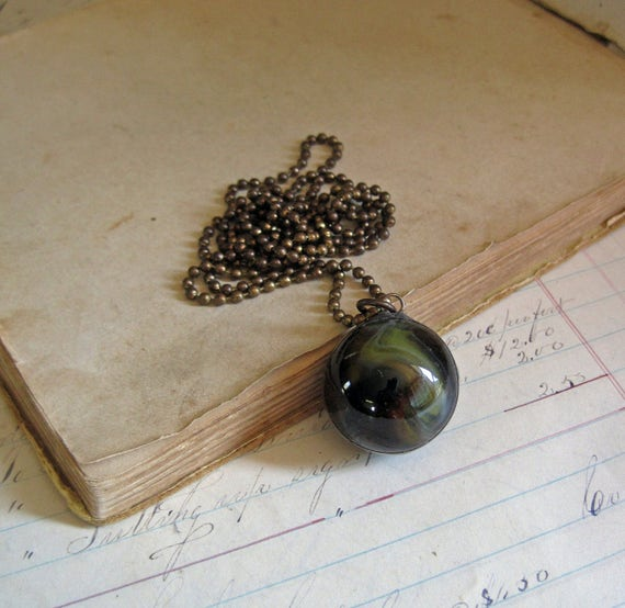 Shooter Marble Necklace Brown Swirl Glass Jewelry