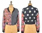 90s floral bomber / color block mixed print floral jacket  / rayon cardigan