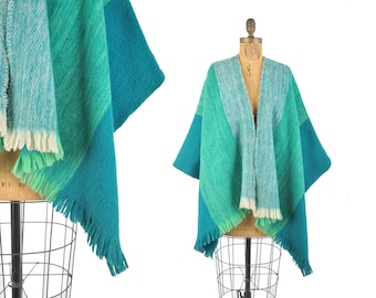 60s striped wool blanket cape / turquoise and teal woven fringe wrap / 1960s wool poncho cape