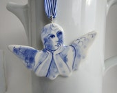 Angel - Handformed and handpainted porcelain Delft ornament/wall hanging