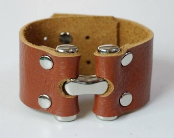 Tan Leather Cuff Leather Bracelet Leather Bangle Leather Wide Cuff with Metal Big 'H' Silver Tone