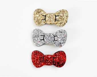Glitter Hair Bow - Hello Kitty Style Bow - Sparkle Red Clip - Sparkly Gold Bow - Silver Hair Clip - Christmas Glitter Bow - Girl Holiday Bow