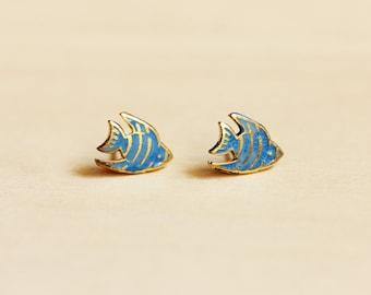 Enamel Blue Fish Stud Earrings