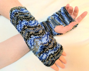 Fingerless Gloves Mitts in Green & Blue Variegated Yarn - Knit in a Lovely Lace - fits adult hands