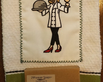 Chef's Towel and Chef's Hand Soap - Chef Gift - Housewarming Kitchen Gift - Bridal Shower Gift