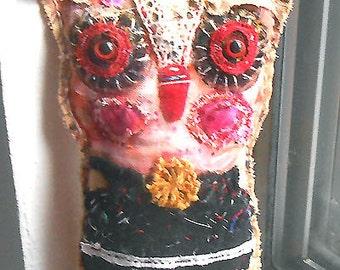Original art doll ,folk art  Owlie with red eyes   OOAK From miliaart studio