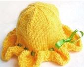 HOLIDAY SALE - Baby Sun Hat, Ruffle Brim, Photo Prop, Sunshine Yellow, Soft Vegan Yarn, Satin Ribbon - CUSTOM Sized