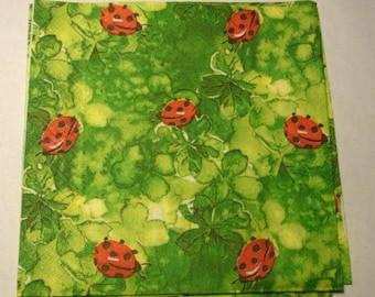 Decoupage Napkins,  vintage paper napkins, little lady bugs on green.
