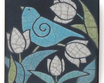Bird Ceramic tile, white flowers,handmade 4x4 raku fired art tile, wall art
