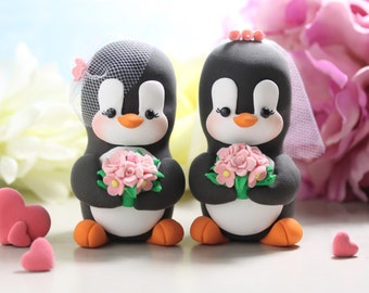Same sex Penguin wedding cake toppers - personalized lesbian gay 2 brides or 2 grooms - homosexual pride girls women wedding gift pink