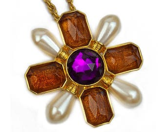 1990s Avon Purple & Amber Lucite Rhinestone Gold Tone Maltese Cross Vintage Brooch Pin Pendant Necklace
