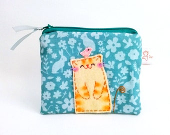Blue Cat Coin Purse Cute Change Purse Zipper Pouch Floral Purse Small zipper wallet mothers day gift - Happy cat