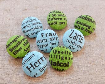 French Style Retro Black Letters On Blue Or Green, Choose Color-Handmade Fabric Covered Buttons(0.87 Inches, 5PCS)