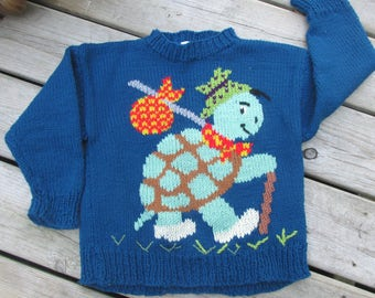 vintage hand knit childs sweater crew neck sz 4-6 teal turtle frog warm bright
