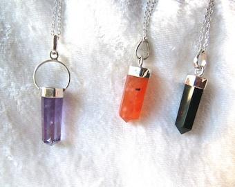 Amethyst, Carnelian, Bloodstone Sterling Silver Pendants /Crystal Chakra Pendants