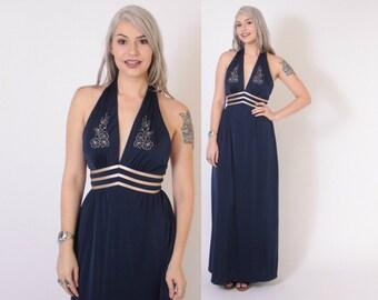 Vintage 70s Maxi DRESS / 1970s Embroidered Plunging Neckline Navy Blue Halter Dress XS - S