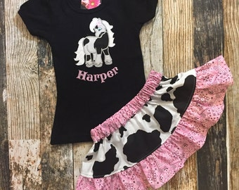 Cowgirl Horse Skirt and Personalized Shirt Outfit For Toddler Girls - Choose Black or Brown Cowprint, and Pink or Red bandana print