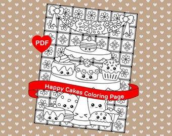 Cake Coloring Page Cute Kawaii Printable PDF