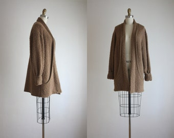 slouchy whiskey brown sweater coat