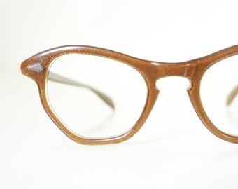 1950s Glitter Cat Eye Glasses Metallic Bronze Fifties Cateye Pin Up Chic Sexy Classic Mid Century Modern Mod Shiny Glittery