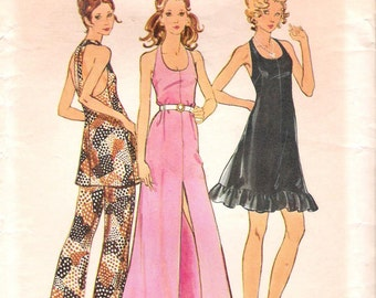 Butterick 6700 1970s Hot Retro Halter Party Dress or Pant Outfit Vintage Sewing Pattern Bust 31