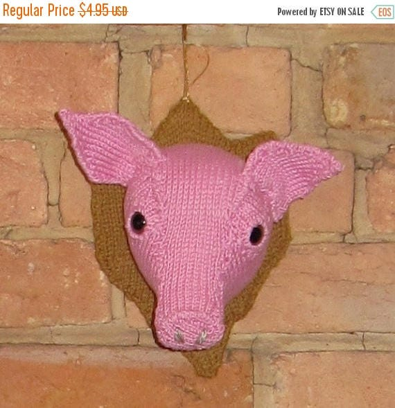 50% OFF SALE Instant Digital pdf download knitting patternWall Mounted Pig's Head knitting pattern pdf download by madmonkeyknits
