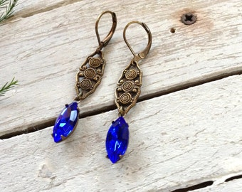 Vintage Style Cobalt Crystal And Brass Earrings