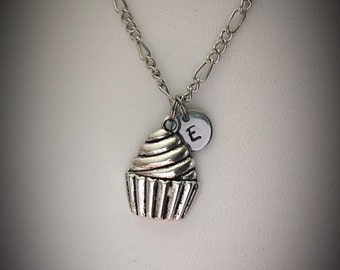 Personalized cupcake necklace * charm necklace * cupcake charm * monogram