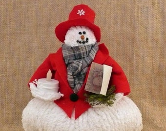 Mr. Frosty Handmade Chenille Fabric Snowman