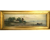 Antique Small OOB Seascape Landscape Painting Gilt Frame