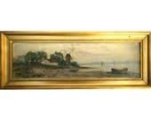 Antique Small OOB Seascape Landscape Painting Gilt Frame