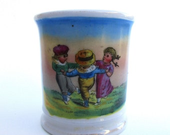 Antique Hand-Painted Child's Cup Children Dancing Regency Clothing Mystery Maker