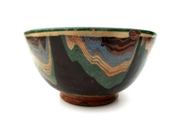 Antique Bulgarian Troyan Redware Pottery Bowl