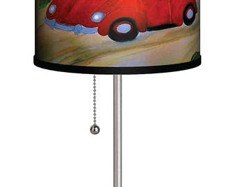 Red VW coastal beach house table lamp from my art