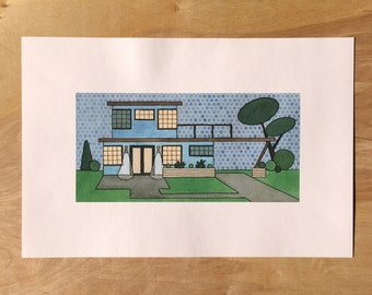 Mid Century Modern House Watercolor Print