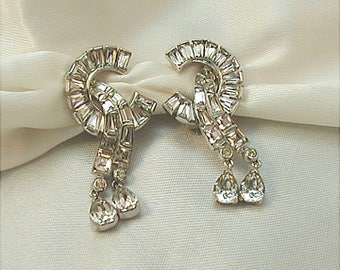 Mazer Brothers Crystal Rhinestone Clip Earrings