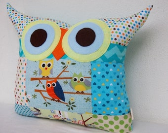 Patchwork owl pillow Aqua/ blue /PATCHWORK/chevron/ room decor pillow/Ready to ship(large size)express shipping