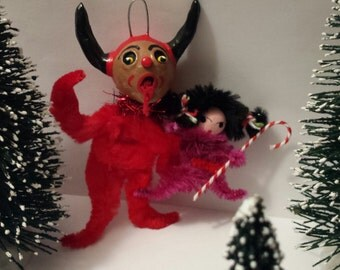 Vintage Style Folk Art Naughty Krampus Chenille Feather Tree Christmas Holiday Ornament