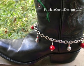Faceted Red Glass and Bali Style bead boot bracelet