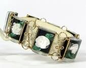 Vintage REVERSE CARVED LUCITE Bracelet Black White Green Leaves Links