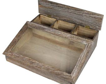 Rustic Coffee Brown Glass Top Organizing Case With 4 Compartments
