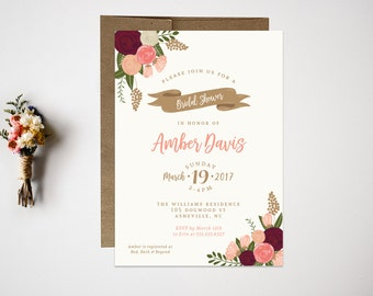 Bridal Shower Invitation // Wedding Shower Invitation // Botanical Bridal Shower // Bridal Shower Invite // Wedding Invitation // Shower