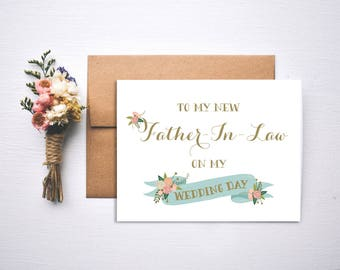 Wedding Day Card // To my Father In Law on my wedding day // In Law Card // Father of the bride // Father of the groom // Wedding Day Card
