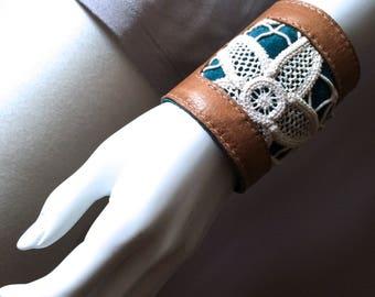 Boho leather cuff, vintage crochet doily and leather bracelet, handmade boho jewelry, gypsy bracelet, bohemian fashion, hippie bracelet cuff