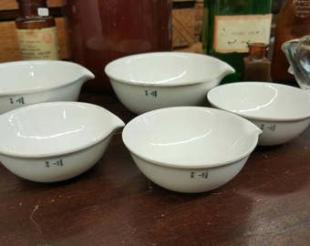 Vintage Porcelain Coors and Glass Pyrex Laboratory Dishes from Rustysecrets